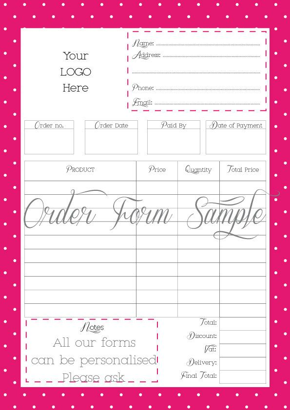 Order Form Printable Order Form Work At Home PDF FILE Personalised With Your Logo Office