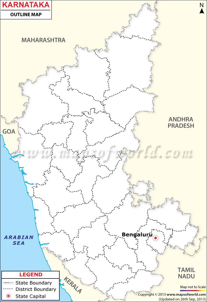 Karnataka Outline Map | Map, Outline, Karnataka on gujarat state india map, bellary karnataka india map, bihar state india map,
