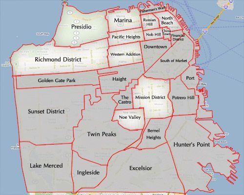 A Simplified Map Of Sf Neighborhoods I Sf Pinterest San