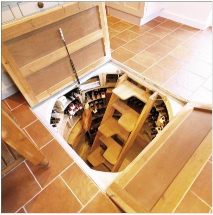 Nice Design of Trap Door Wine Cellars in Creative House Designs :  Impressive Cellar Design With Wooden Unique Cellar Stairscase With Wooden .