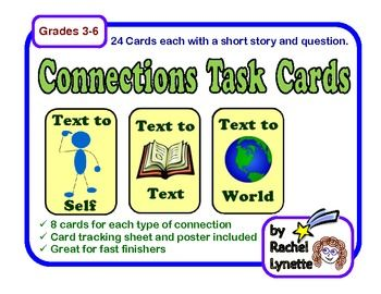 Use these 24 task cards to help your students practice the making connections reading strategy. The cards are divided into three sets of eight, one for each of the three types of connection (text to self, text to text, and text to world).$