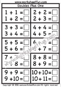 Addition Doubles Plus One Free Printable Worksheets Math Fact Worksheets First Grade Math Worksheets Kindergarten Subtraction Worksheets