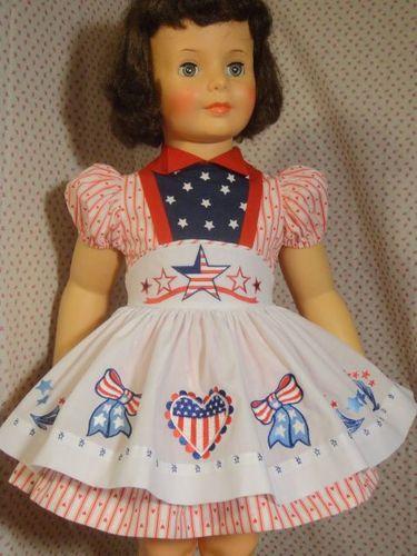 Patti modeling a Patriotic red white & blue set.