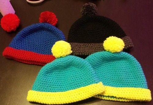 Patron crochet d\'un bonnet à pompon. DIY d\'un bonnet South Park ...