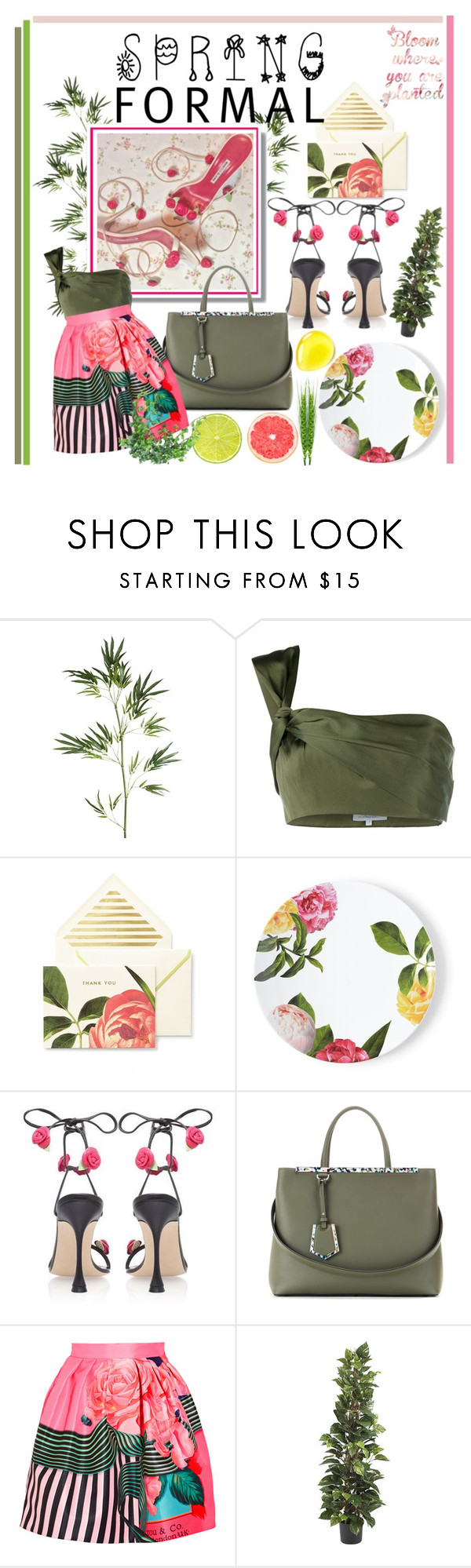 """""""Xafiore"""" by rivlyb ❤ liked on Polyvore featuring Pier 1 Imports, 3.1 Phillip Lim, Kate Spade, Fendi, Mary Katrantzou, Nearly Natural, floral, manoloblahnik and summer16"""