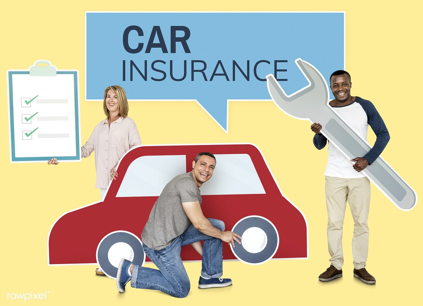Download premium psd of People with a car insurance policy