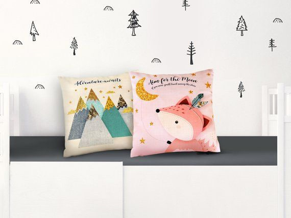 Throw pillow, Pillow cover, Woodland Pillow set of 2, Cute animals, Babies gift, Nursery Cushion Covers, Throw pillow for baby, Pillow