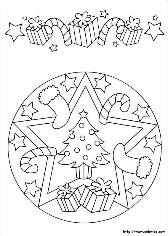 Mandala et frise de Noël | Coloriages / Dessins à Colorier ...