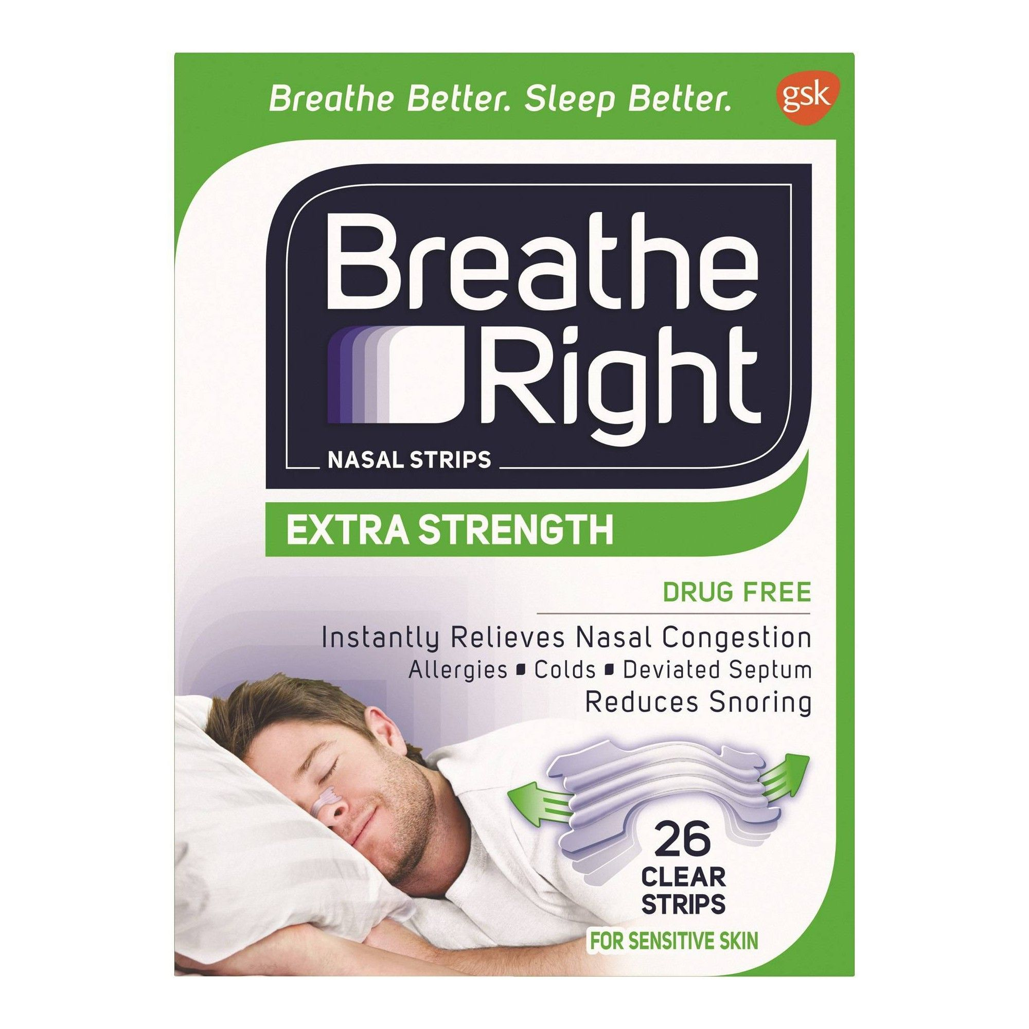 Breathe Right Extra Clear for Sensitive Skin DrugFree