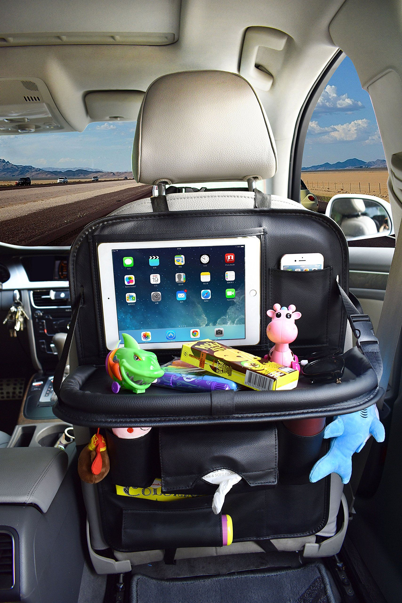 Car Back Seat Organizer With Table Tray For Baby Pu Leather Foldable Dining Table Desk Suasi Back Seat Tablet Ipad Holder Tissue Storage Bag Pockets Fo Campeggio