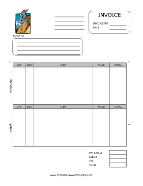 Home Repair Invoice Template Printable Invoice Invoice Template Invoice Template Word