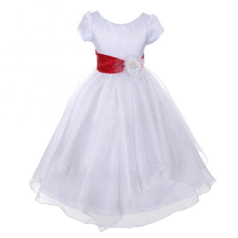 Big Girls White Red Floral Detachable Sash Junior Bridesmaid Dress 8 ...
