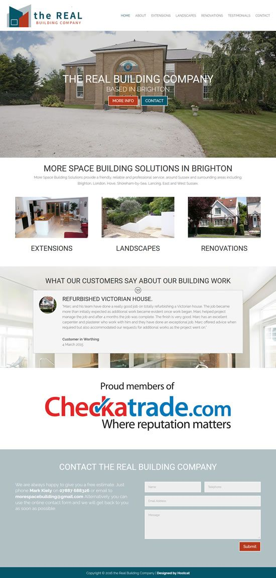 New Small Business Card Website completed for the Real Building ...