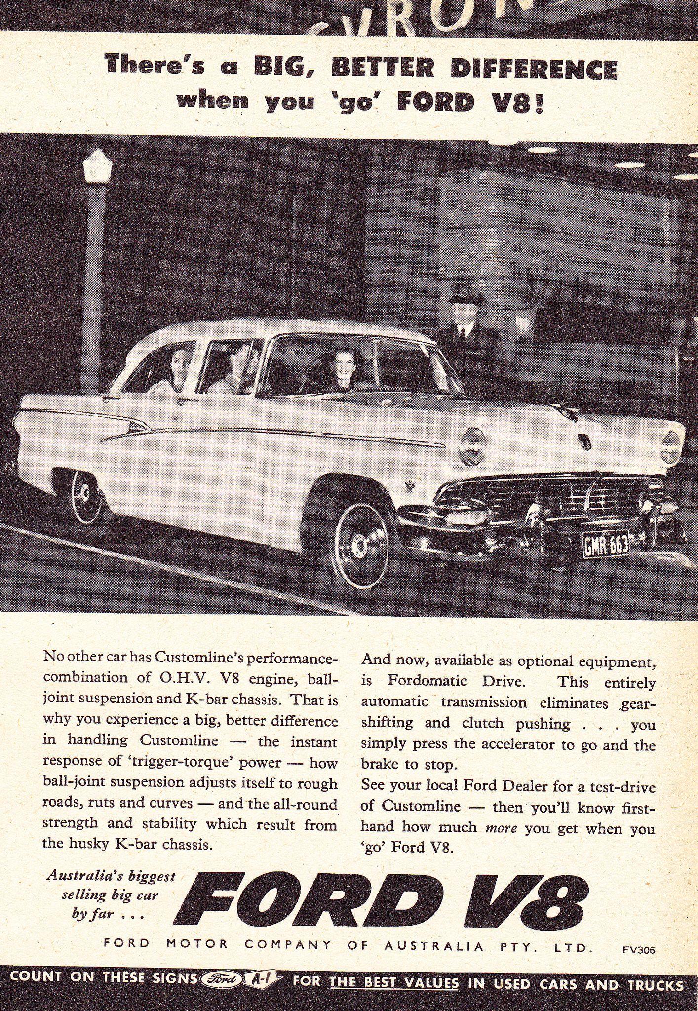 1956 Ford Customline V8 Aussie Original Magazine Advertisement Australian Cars Ford Car Advertising