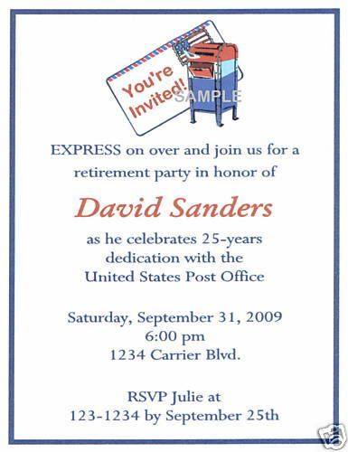 Details About 20 Custom Invitations Retirement Post Office