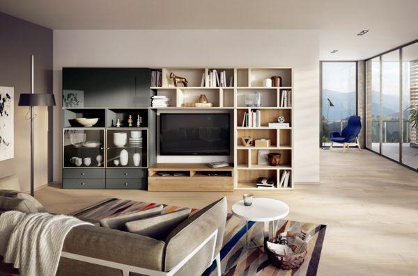 Wohnwand selber gestalten  modernes wohnzimmer gestalten wohnwand sofa decke | Ideen rund ums ...