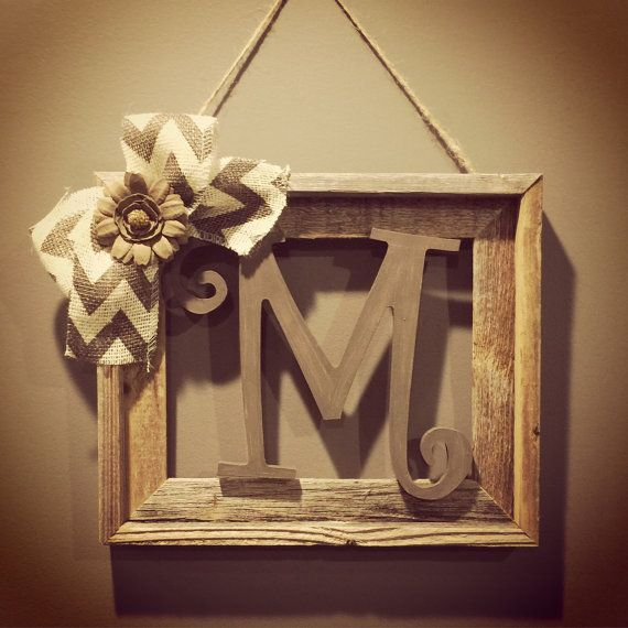 Rustic Monogram Wall Decor : Barnwood rustic home decor frame with initial