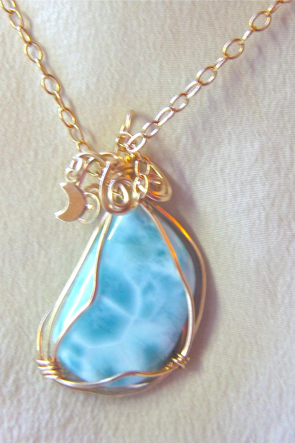 13. Genuine Dominican Republic Larimar Gold Filled Wire Wrapped ...