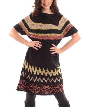 Black & Tan Zigzag Split-Cowl Neck Sweater - Plus by Shoreline #zulily #zulilyfinds
