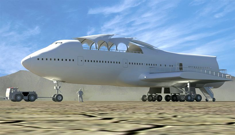 converted boeing 747 lands at burning man in nevada's black rock desert