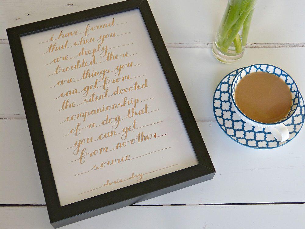 Handmade Framed Doggy Quotation - Dog Lover's gift - Doris Day by MyMumAndMeQuotes on Etsy