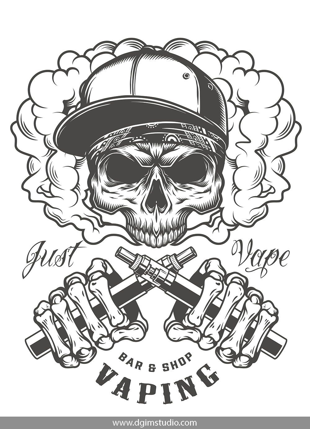 Skull creator Skull illustration, Vape, Skull design