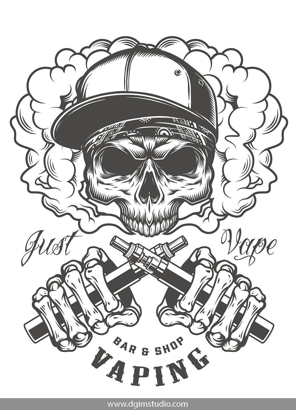 Skull creator Skull illustration, Vape, Skull design