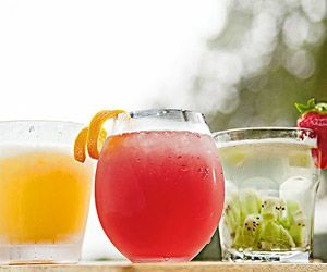 festive non-alcoholic drinks for kids (tropical slush, curly temple, strawberry-kiwi spritzer).