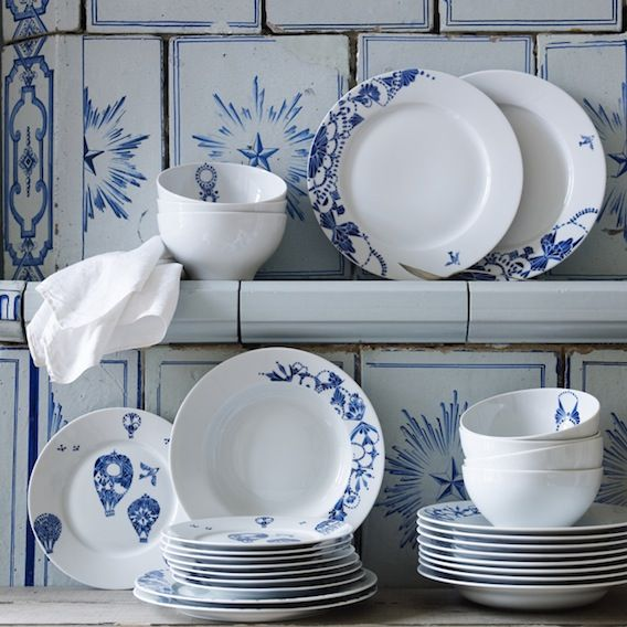 Your Home is Lovely: interiors on a budget: Swedish country style - Swedish white and blue plates