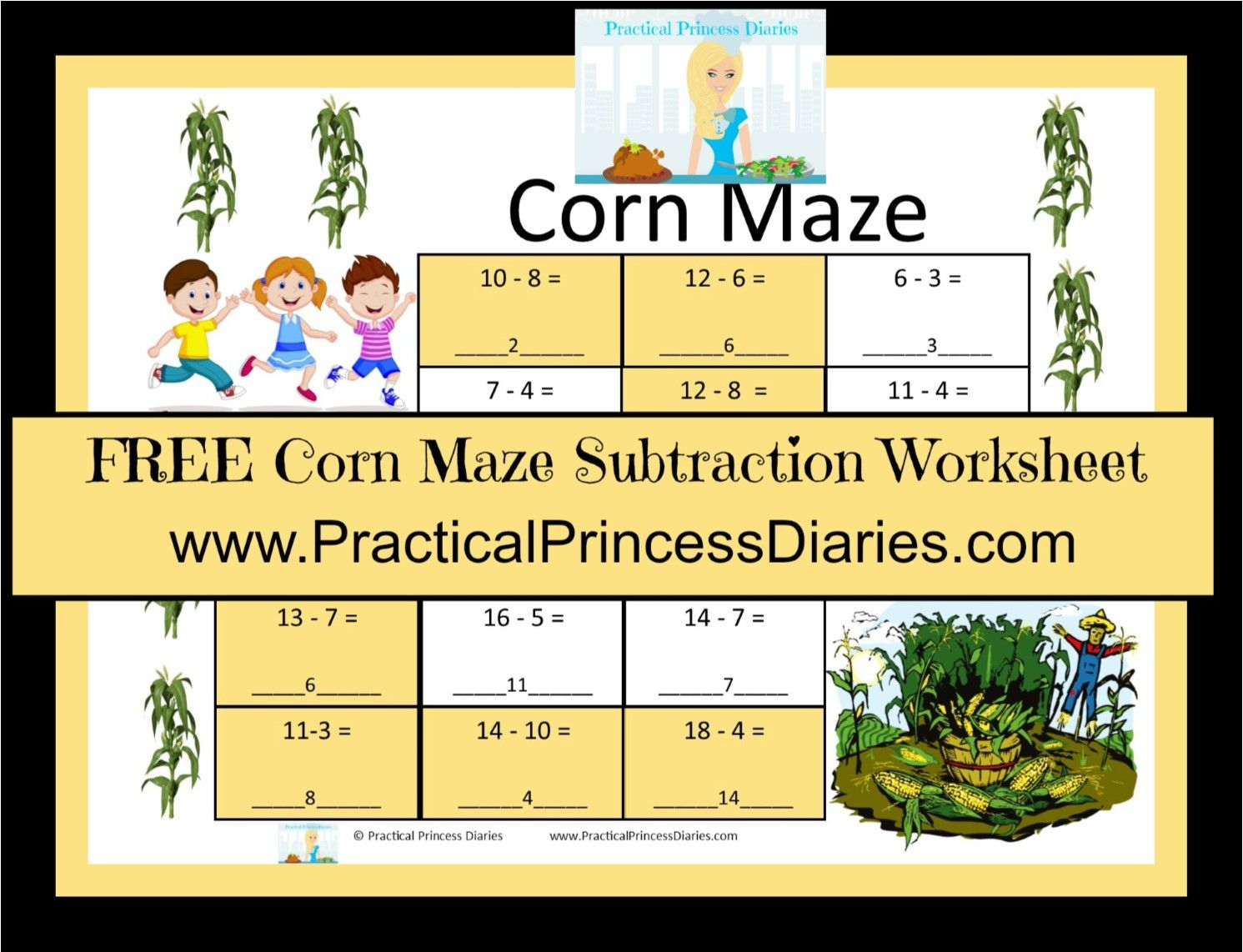 This Free Corn Maze Subtraction Worksheet Will Help Your