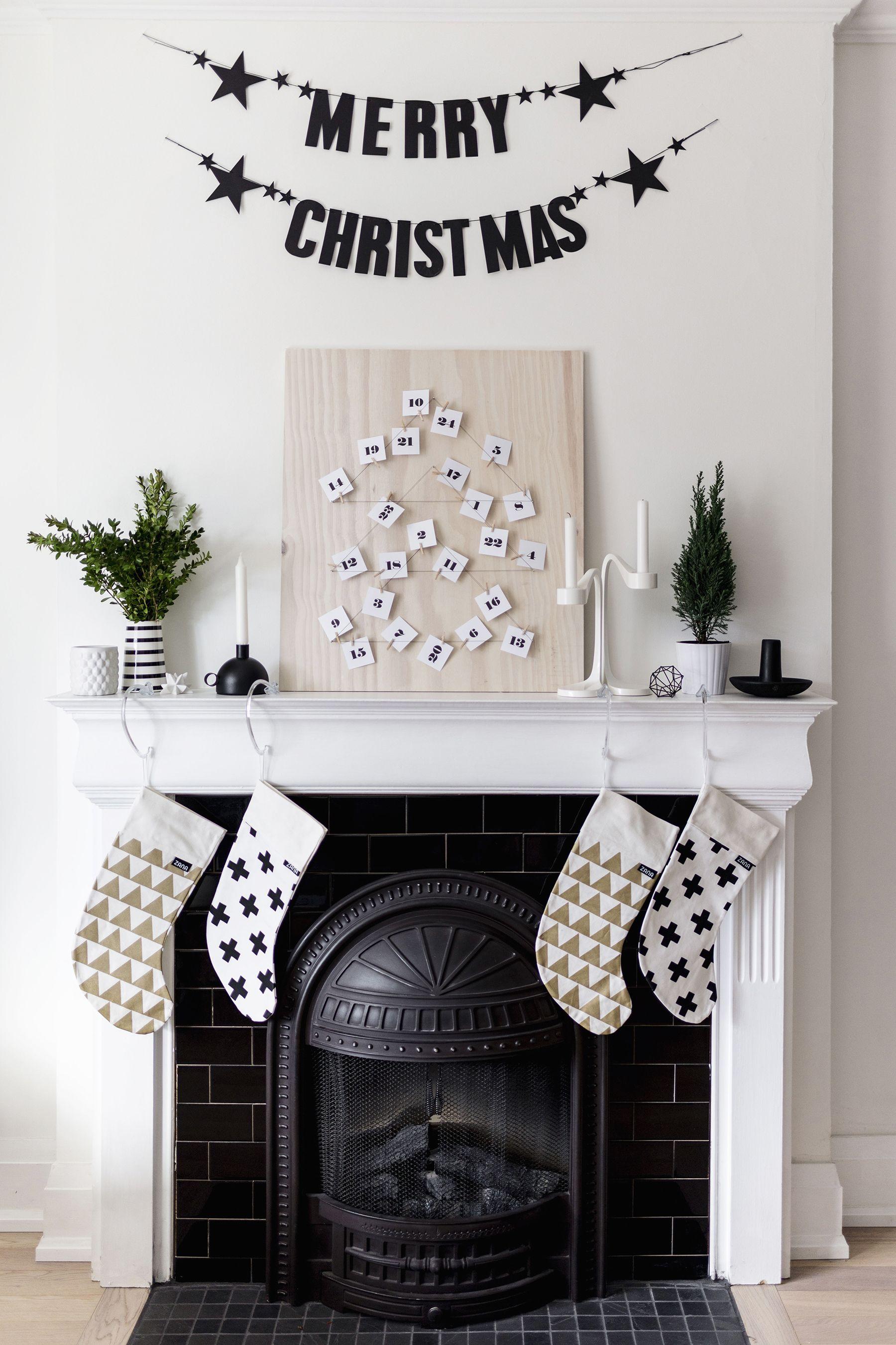 Scandinavian Christmas Fireplace Mantle Stockings Diy Advent Calendar Merry Christm Christmas Fireplace Decor Diy Christmas Fireplace Minimalist Christmas