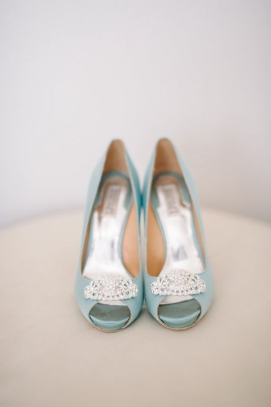 blue wedding shoes #weddingheels #somethingblue #weddingchicks http://www.weddingchicks.com/2014/04/10/blue-and-ivory-shabby-chic-wedding/