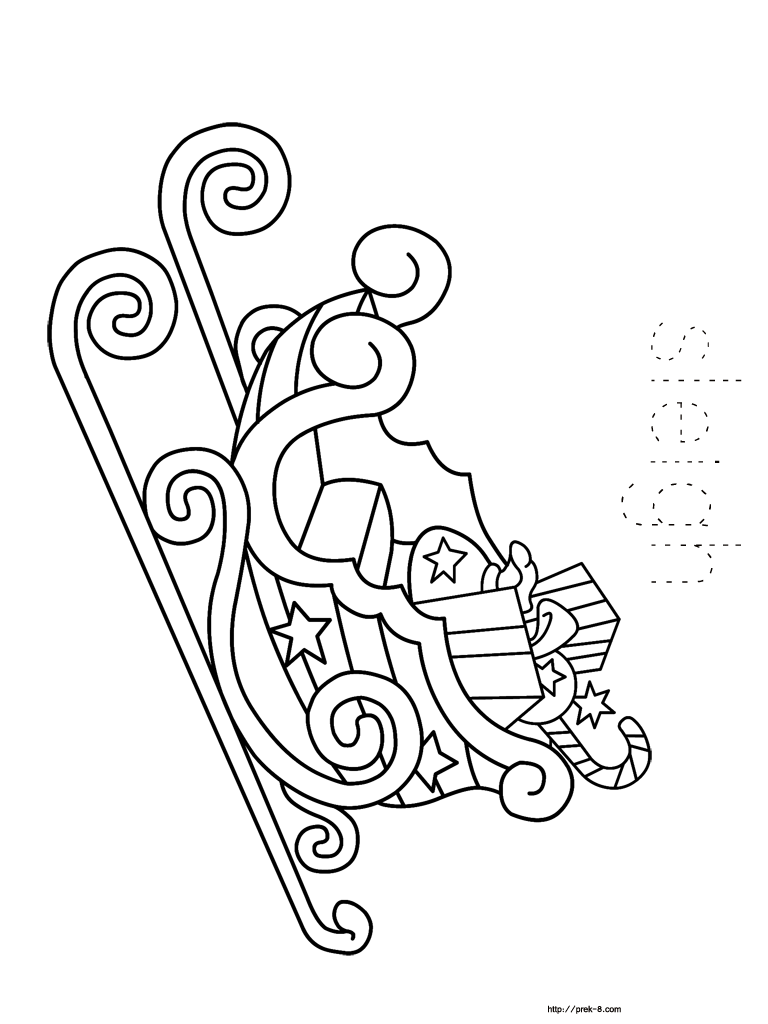 Christmas Sleigh Coloring Pages | Christmas coloring book for kids ...
