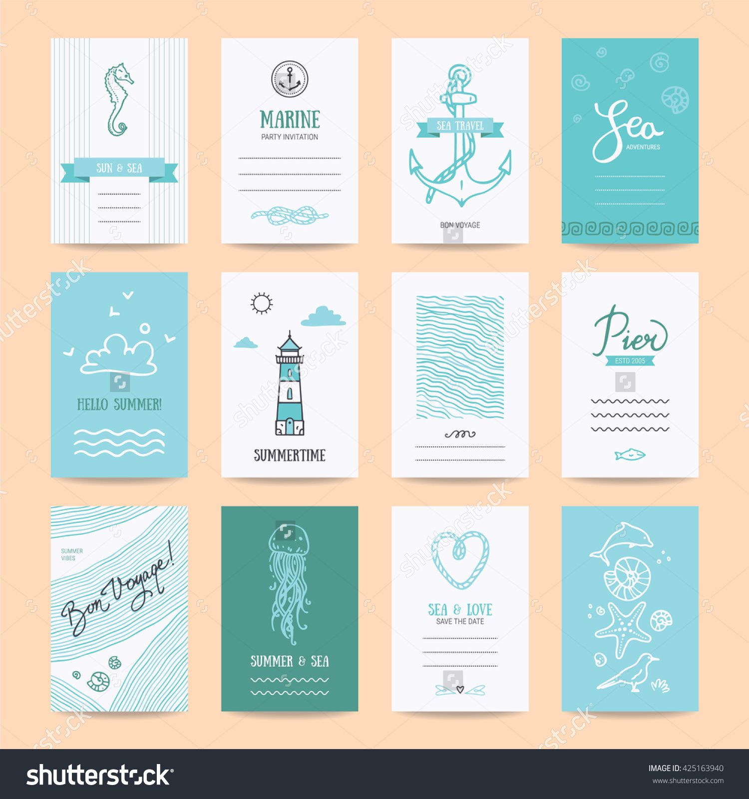 Summer Holiday Sea Vacation Ocean Trip Card Wedding Flyer
