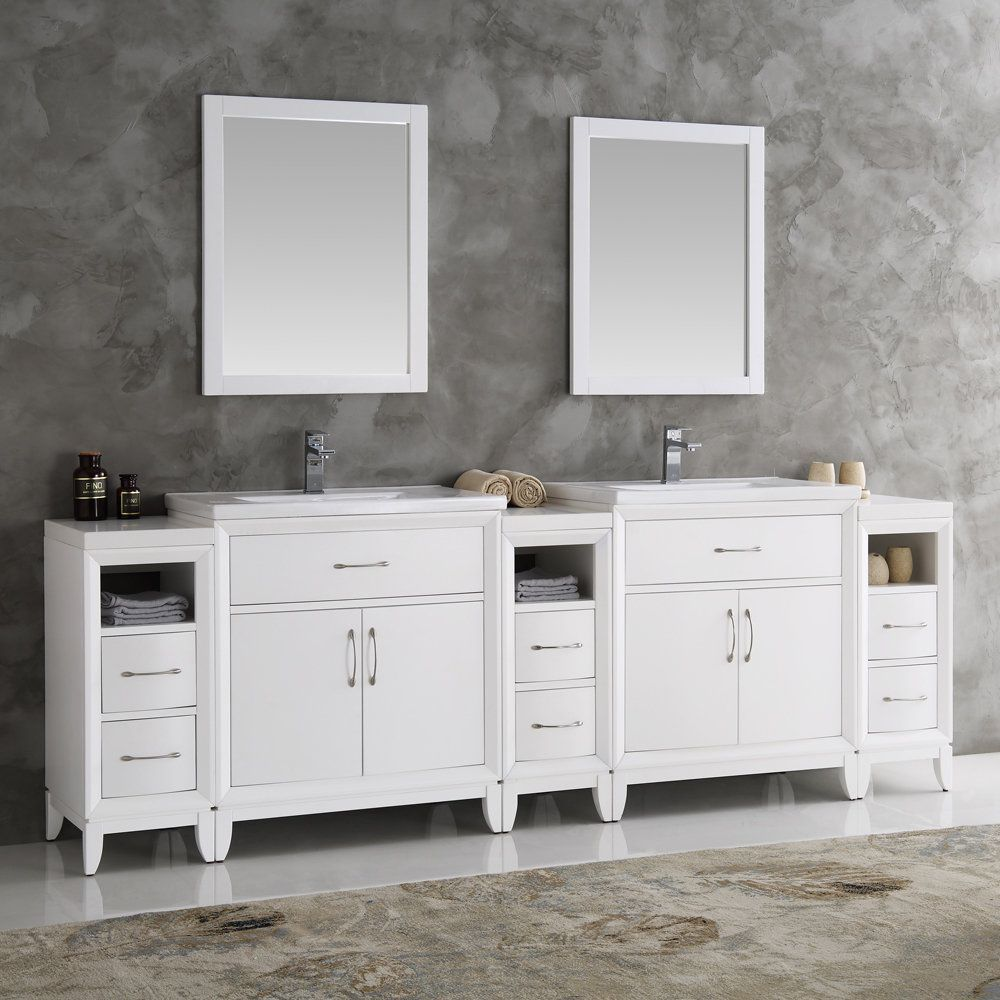 Fresca Cambridge White 96 Inch Double Sink Traditional Bathroom