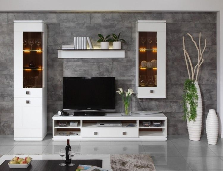Moderne Weiße Wohnzimmermöbeln Und Graue Wandfliesen In Stein Optik
