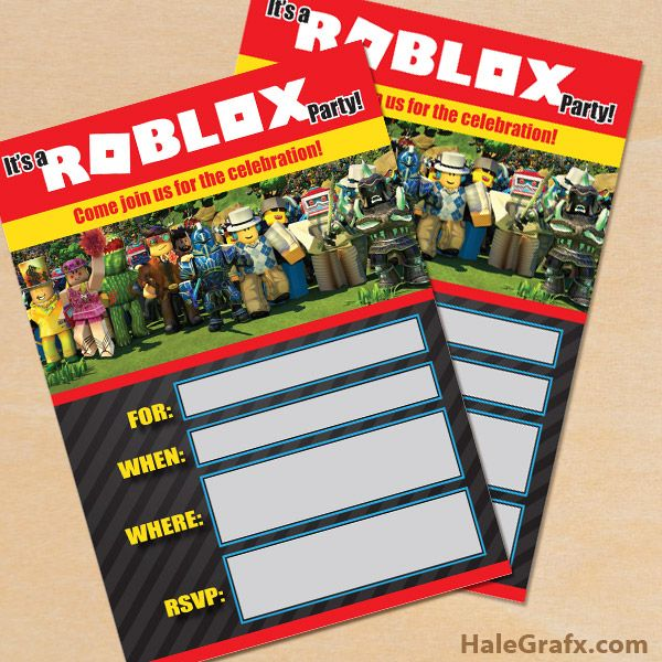 FREE Printable Roblox Party Invitation Roblox In 2019 Pinterest