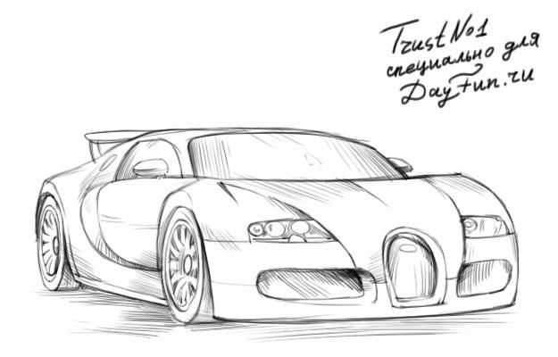 How To Draw Bugatti Veyron Step By Step 4 Ideas For Projects