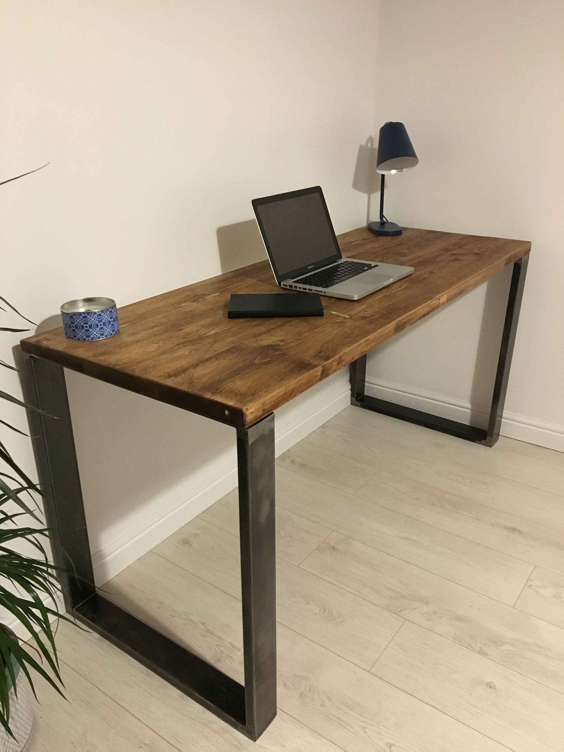 Rustic Wooden Desk Made From Reclaimed Scaffold Boards
