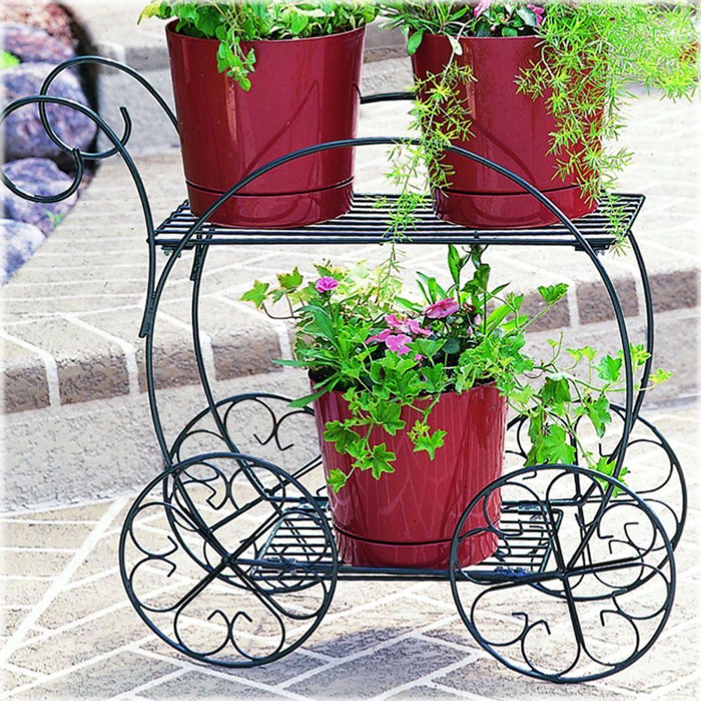 Steel Garden Cart Planter Flower Outdoor Stand Plant Rack Yard Lawn Nursery