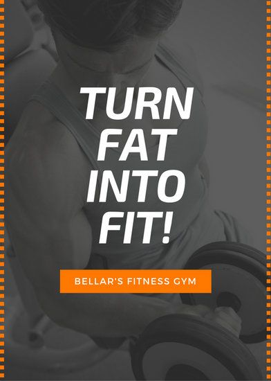 Orange Black Square Lines Man Working With Weights Fitness Flyer
