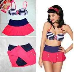 Online Shop Retro Bandeau Top Swimsuit Sexy Swimwear Vintage Biquinis High Waist Skirt Brazilian Bikini Set For Women Bathing Suits S M L XL|Aliexpress Mobile