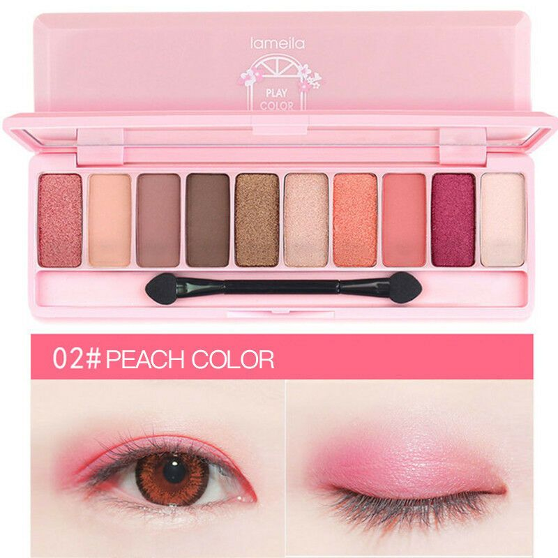 Lameila 10 Color Eye Shadow Palette Set Pearlescent Matte Long