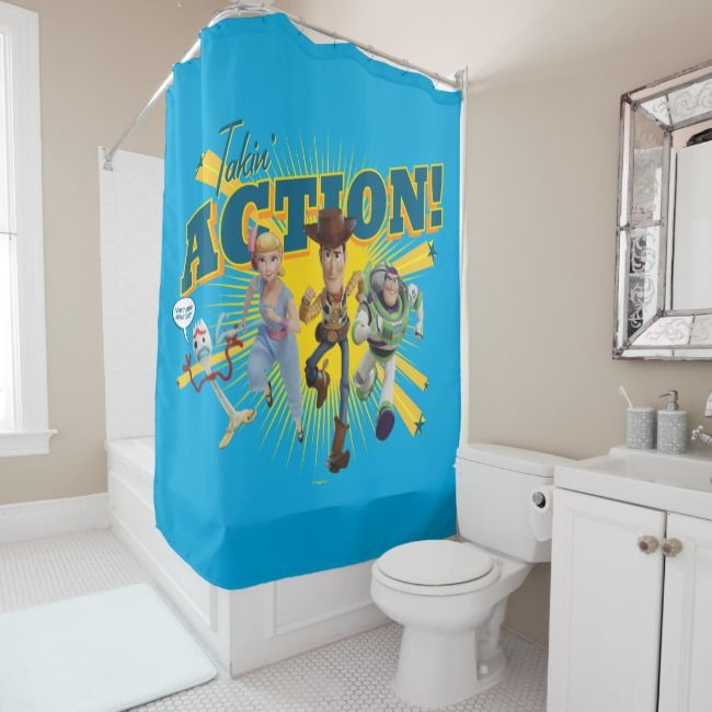 Toy Story 4 Takin Action Group Art Shower Curtain Zazzle