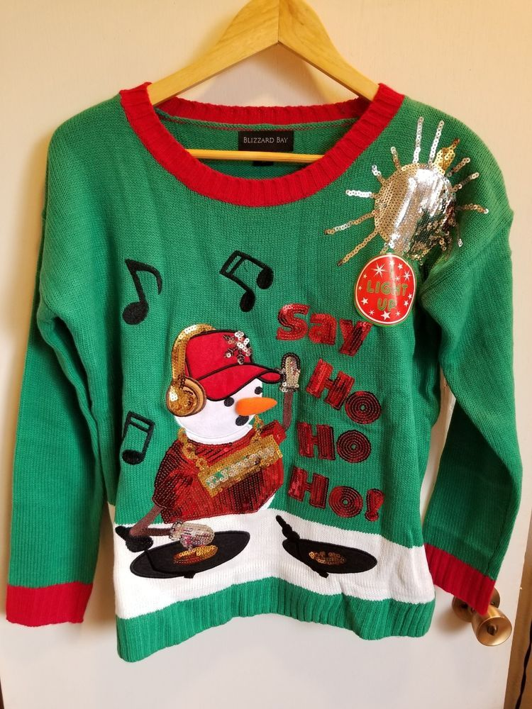 21a80da198 NWT Blizzard Bay Womens Ugly Christmas Sweater DJ Snowman Lights Up! Sz M   fashion  clothing  shoes  accessories  womensclothing  sweaters (ebay link)