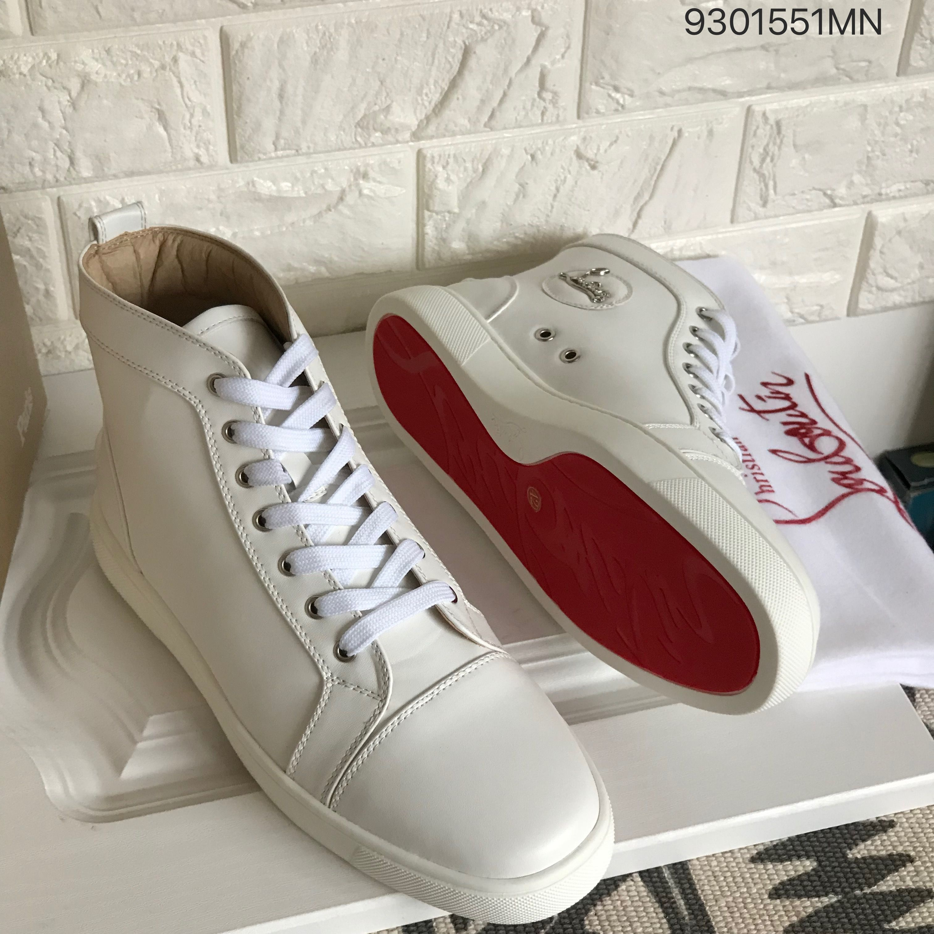 super popular 62b4d 5ac8e Christian louboutin full white plain leather man sneakers ...