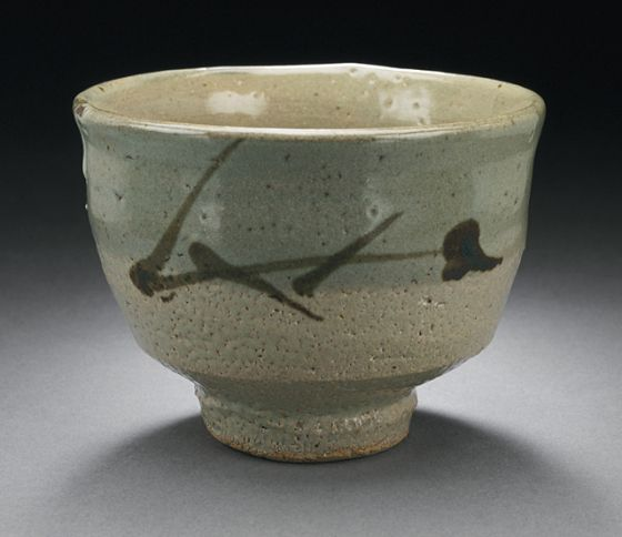 Tea Bowl with Grass Design Hamada Shōji (Japan, 1894-1978). Japan, 20th century. Stoneware with white and gray slips, iron underglaze. LACMA