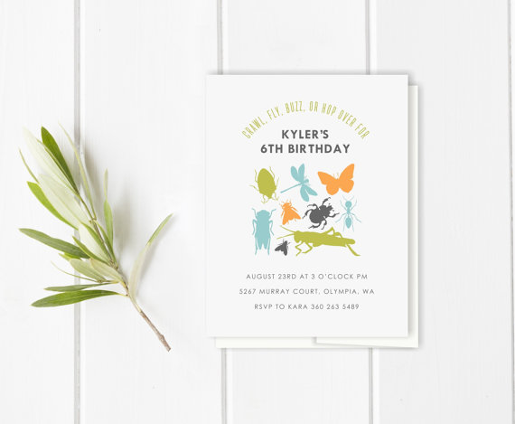 bugs birthday invitation set  //  baby shower invitation // thank you note // insect  // bug // grasshopper  //  beetle  //  butterfly