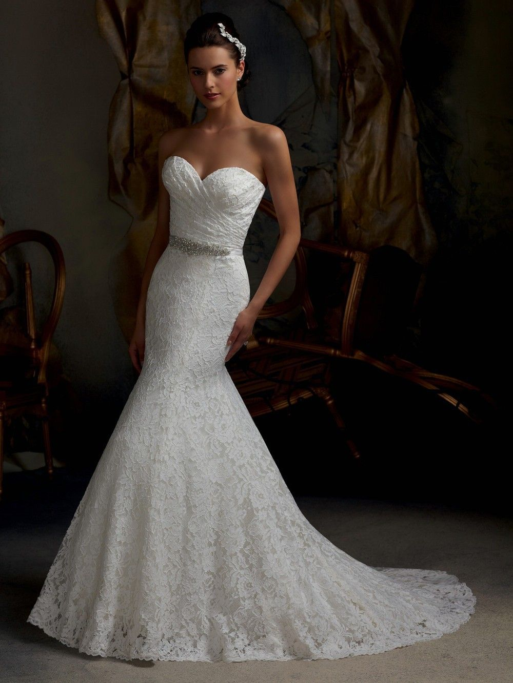 2013 Hot On Sale Custom Made Strapless Sweetheart Lace Bling Beading Front Split Lace Mermaid Wedding Dress Mermaid Trumpet Wedding Dresses Bridal Dresses Lace [ 1333 x 1000 Pixel ]