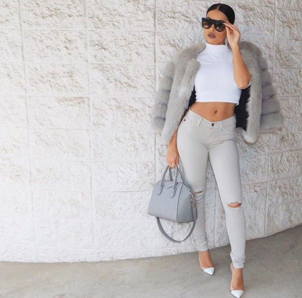 92f8939d8bb top tumblr jeans grey jeans ripped jeans crop tops white crop tops coat fur  coat grey coat bag grey bag givenchy givenchy bag sunglasses pumps pointed  toe ...
